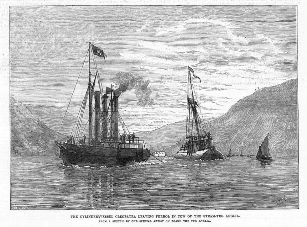 Aguja de Cleopatra en su buque cilindro zarpando de El Ferrol arrastrada por el remolcador de vapor Anglia en 1878
