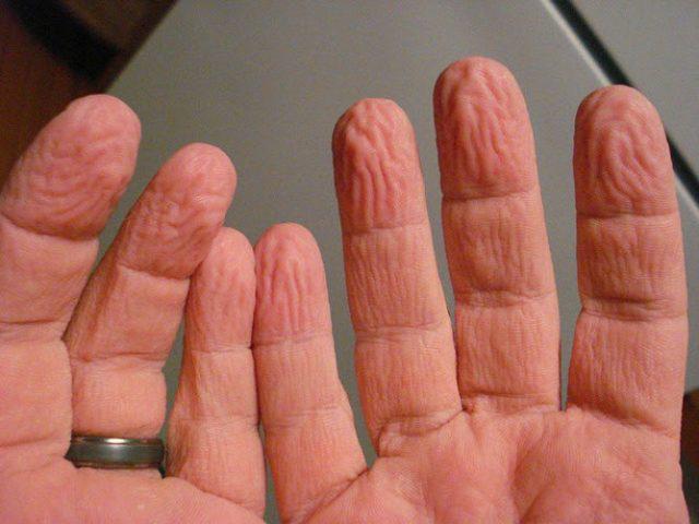 dedos arrugados agua