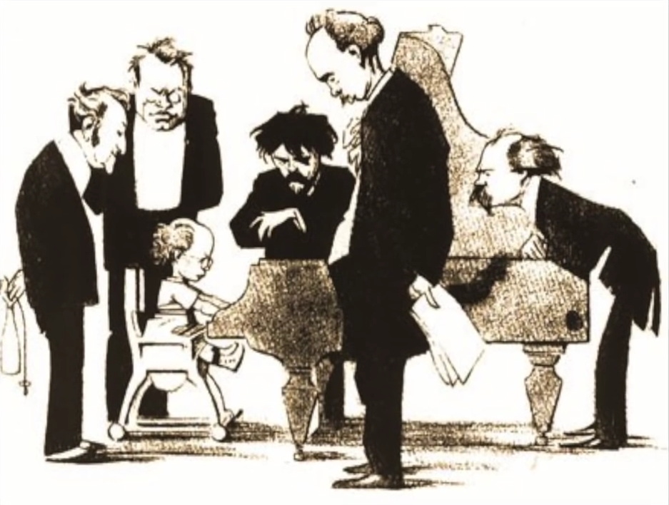 Caricatura de la época mostrando a Korngold maravillando al piano a Richard Strauss, Max Reger, Eugen d'Albert, Siegfried Wagner y Arthur Kikisch