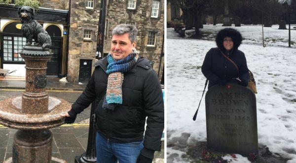 Posando junto a la estatua de Bobby y la tumba de James Brown